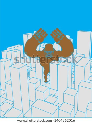 city and gorilla abstract skyline and monster industrial lands stock photo © popaukropa
