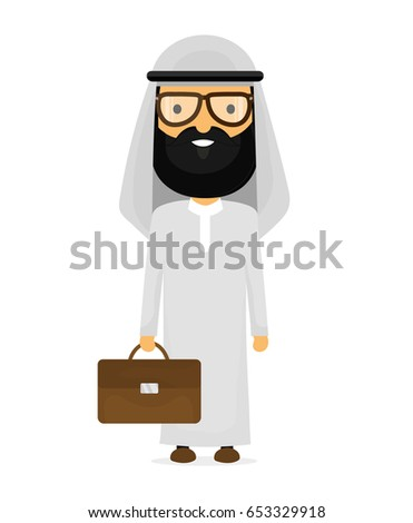 Arab businessman with glasses and briefcase vector flat cartoon  Stock photo © NikoDzhi