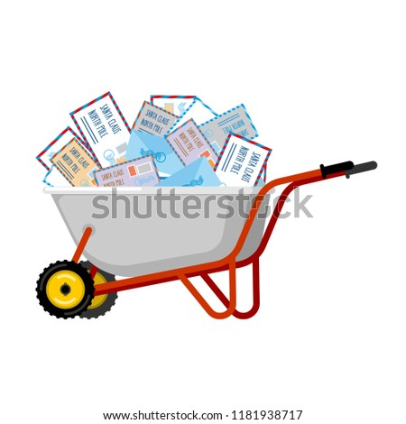 Wheelbarrow and mail for Santa Claus. Xmas grounds trolley. Chr Stock photo © popaukropa