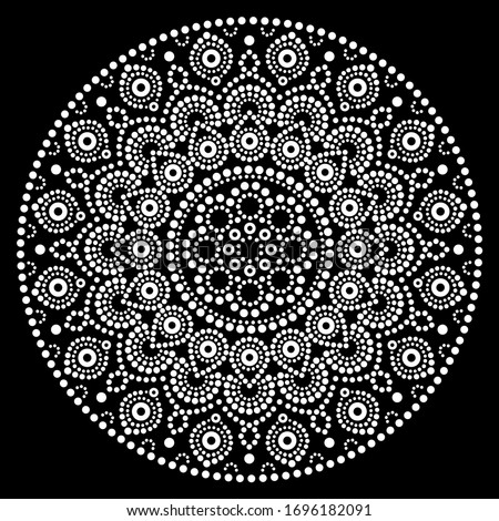 mandala vector dot art aboriginal dot painting retro folk design inspired by traditional art from stock photo © redkoala
