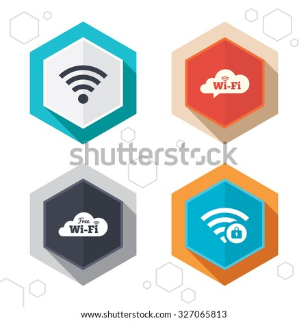 speech bubble hexagonal icons set on abstract orange background stock photo © ekzarkho
