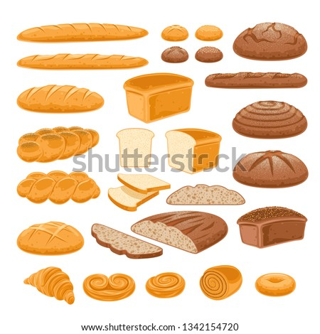 variety assortment of baked pastry products in a wicker or bread basket over white background Stock photo © milsiart