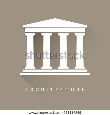 Architectural logo. Greek temple columns. Vector logo. The antiq Stock photo © popaukropa