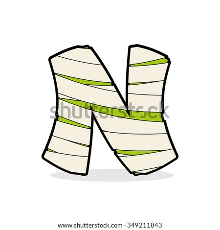 Letter N Monster zombie. Alphabetical icon medical bandages. Egy Stock photo © popaukropa