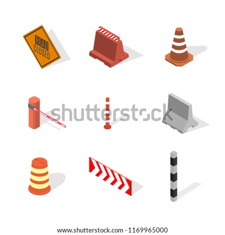 Set of protective barriers and road columns in 3D, vector illustration. Stock photo © kup1984