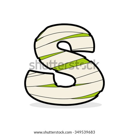 letter s egyptian zombies mummy abc icon coiled medical bandage stock photo © popaukropa