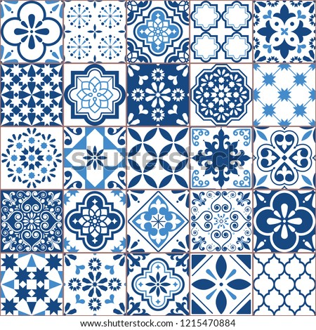 Seamless vector tile pattern, Azulejos tiles, Portuguese geometric and floral design - colorful patc Stock photo © RedKoala