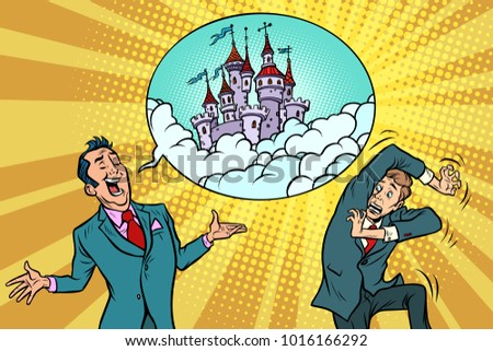 Confident businessman offers a man fabulous castle in the sky Stock photo © rogistok