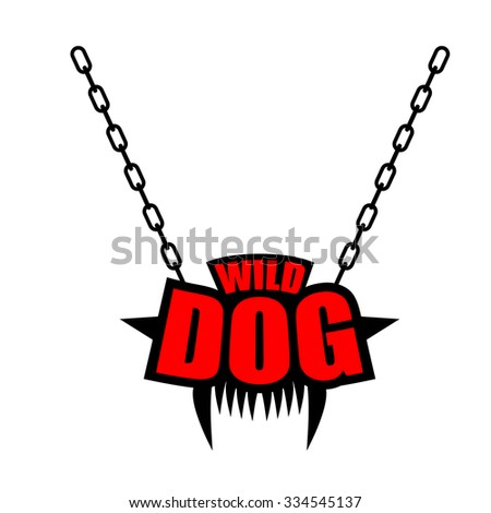 Necklace Wild dog emblem for gangs of hooligans. Decoration on c Stock photo © popaukropa