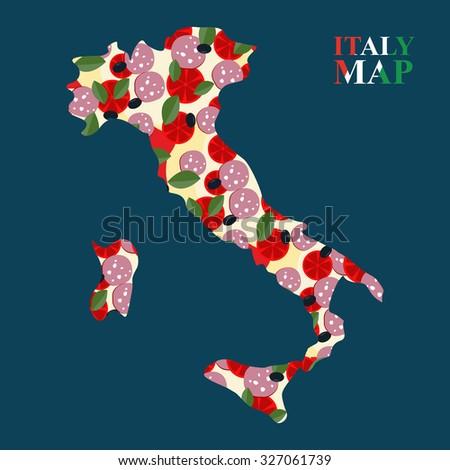Térkép Olaszország sziluett hozzávalók pizza sajt Stock fotó © popaukropa