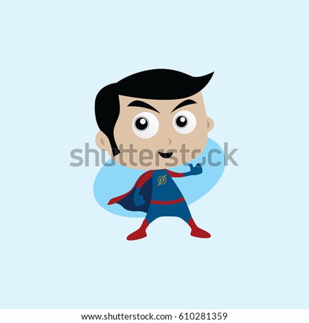 Adorable and amazing cartoon superhero in classic pose in front of city view Stock photo © vector1st