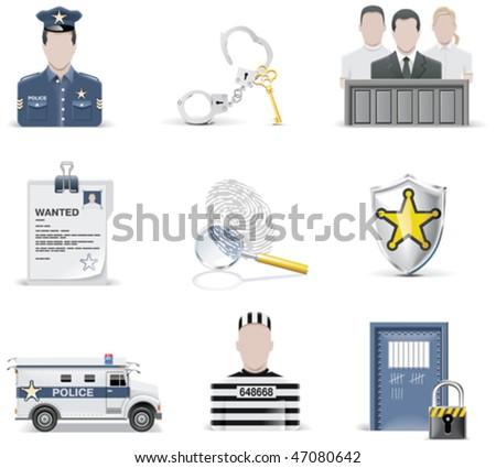 Rendőrség szett ikon egyenruhák bilincs kitűző Stock fotó © popaukropa