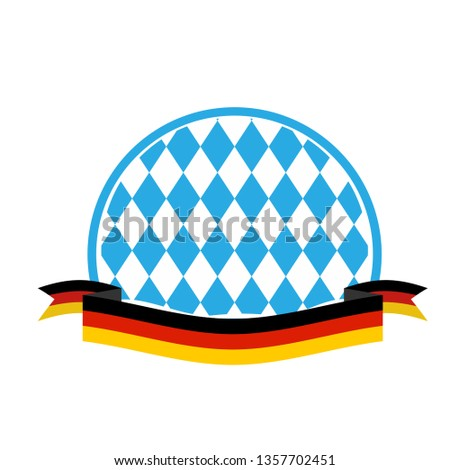 Oktoberfest template. Blue rhombuses and ribbon flag of Germany. Stock photo © popaukropa