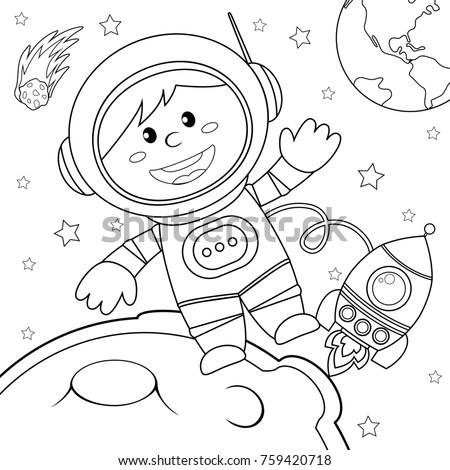 Luna libro da colorare spazio pianeta vettore cielo Foto d'archivio © popaukropa