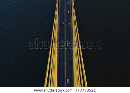 Aerial view on the of expressway across city road with an underground passage in the Kiev city Stock photo © artjazz