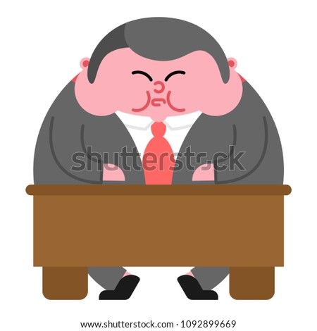 fat boss and table thick director office leader vector illustr stock photo © maryvalery