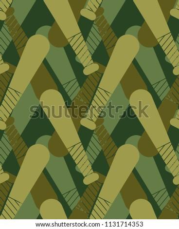 Baseball bat  military pattern seamless. Sports stick  Khaki sol Stock photo © popaukropa