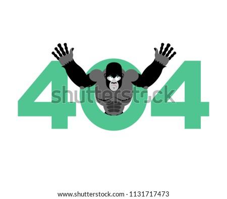 Błąd 404 małpa niespodzianką strona nie Zdjęcia stock © popaukropa
