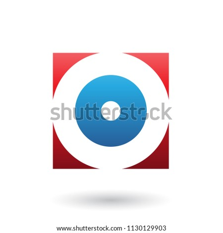 Stock photo: Red and Blue Square Icon of a Thick Letter O Vector Illustration