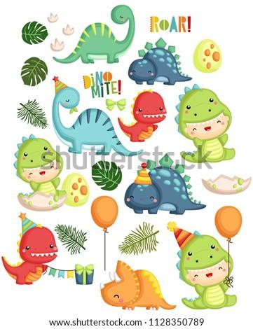Set of colorful dinosaurs. Tyrannosaurus Rex. Cute animals prehi Stock photo © popaukropa