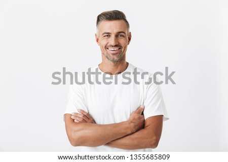 оптимистичный брюнетка человека 30-х годов стерня белый Сток-фото © deandrobot