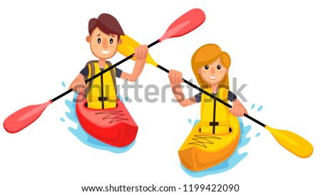 Couple Rides A Kayak Boat On The Lake Vector. Isolated Illustration Stock photo © pikepicture