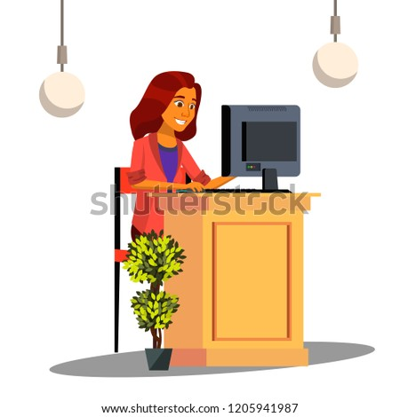 Reception, Cute Girl Behind The Desk Reception Meeting The Guest Vector. Isolated Illustration Stock photo © pikepicture