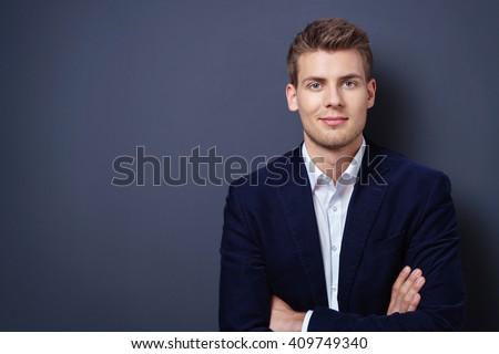 Stockfoto: Portret · jonge · zakenman · donkere · kleurrijk · toepassingen