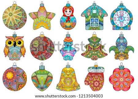 Zentangle stylized Christmas decorations. Hand Drawn lace vector illustration Stock photo © Natalia_1947