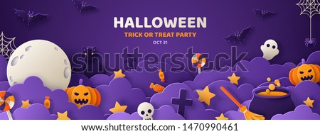 happy halloween banner illustration with moon flying bats coffin and zombie hand on blue night sky stock photo © articular