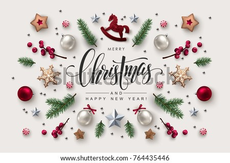 christmas postcard with calligraphic season wishes and composition of festive elements such as cooki stock photo © ikopylov