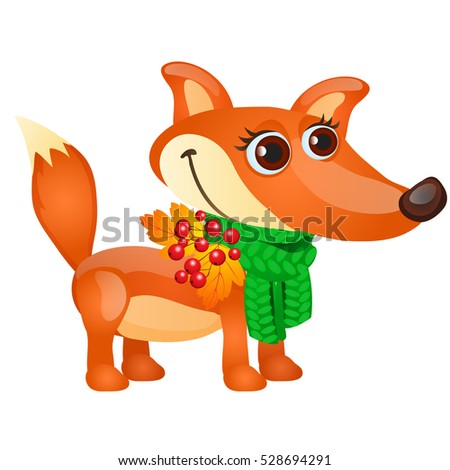 Otono boceto Cartoon Fox verde bufanda Foto stock © Lady-Luck