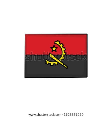 Dibujado a mano bandera Angola aislado blanco vector Foto stock © garumna