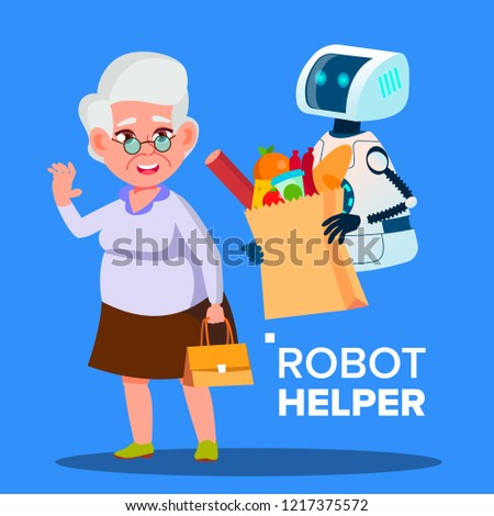 Robot Helper Carrying Cart With Products Of Elderly Woman Vector. Isolated Illustration Stock photo © pikepicture