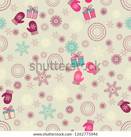 vector seamless pattern with textured gift boxes merry christmas hand drawn elements background w stock photo © user_10144511