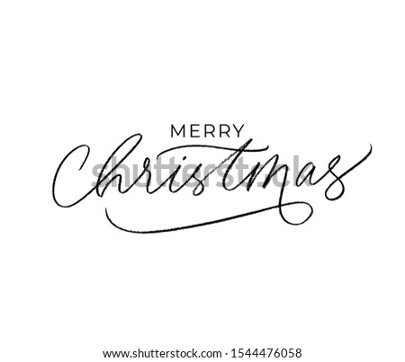 We wish you a Merry Christmas hand written lettering with hand drawn elements- houses, tree, snowfla Stock photo © kollibri
