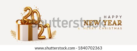 Christmas and New Year realistic greeting card with gold garland Stock photo © cienpies