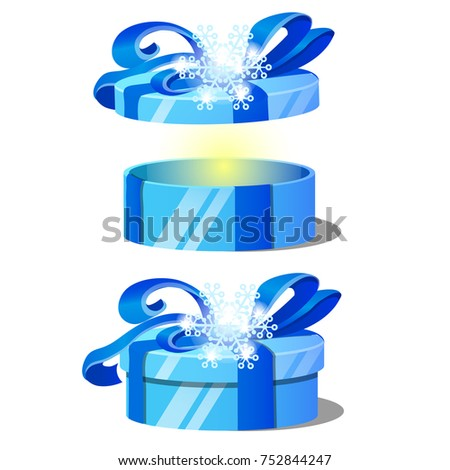 Set of ornate gift boxes with blue lids decorated with snowflake tied with a ribbon bow isolated on  stock photo © Lady-Luck