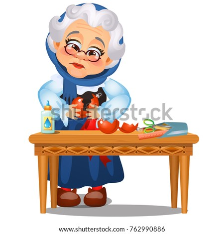 Sad animated old lady glued up the broken Christmas toys isolated on a white background. Sketch of C Stock photo © Lady-Luck