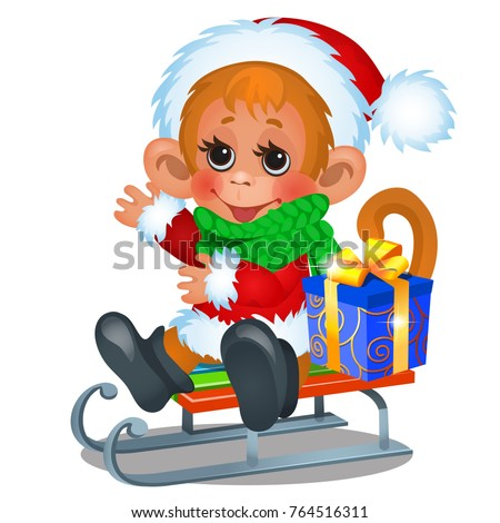 Cute monkey dressed as Santa Claus riding on a sled with gift box isolated on white background. Sket Stock photo © Lady-Luck