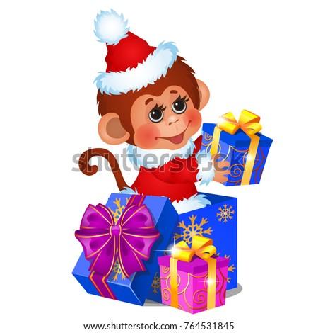 Sevimli maymun noel baba hediye kutuları şerit yay Stok fotoğraf © Lady-Luck