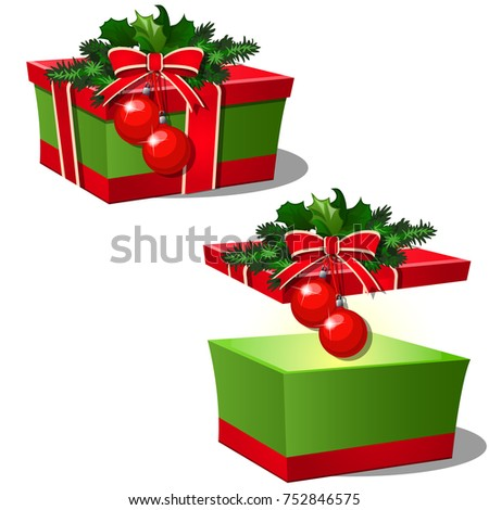 Set of ornate gift boxes with red lid tied with ribbon bow decorated with Holly leaves and Christmas Stock photo © Lady-Luck