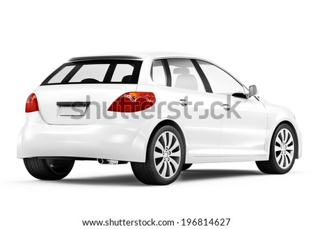 Three-wheeled electric car isolated on white background. Vector cartoon close-up illustration. Stock photo © Lady-Luck
