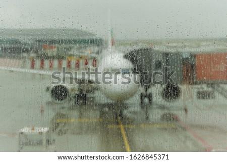 Samolotów przygotowany wyjazd międzynarodowych lotniska Zdjęcia stock © lightpoet