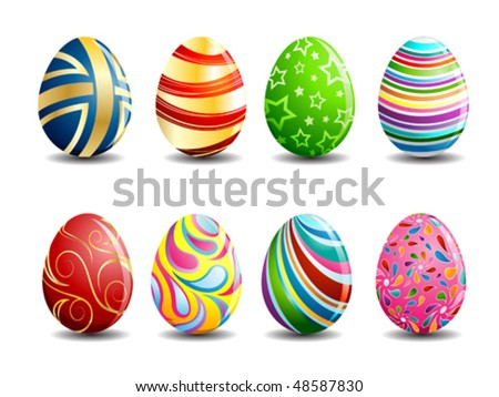 Set of colorful Easter eggs with patterns on a stylized shelf isolated on white background. Vector c Stock photo © Lady-Luck