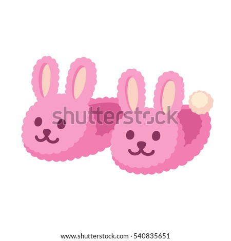 Rabbit Slippers Vector. Pink Female Home Footwear. Isolated Flat Cartoon Illustration Stock photo © pikepicture