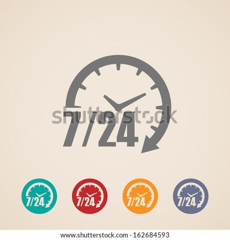 24 7 gün ikon zaman saat vektör Stok fotoğraf © kyryloff