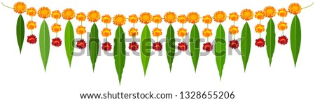 Stock photo: Indian traditional mala garland mango leaves and orange flowers
