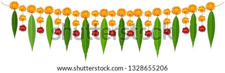 Indian traditional mala garland mango leaves and orange flowers Stock photo © orensila