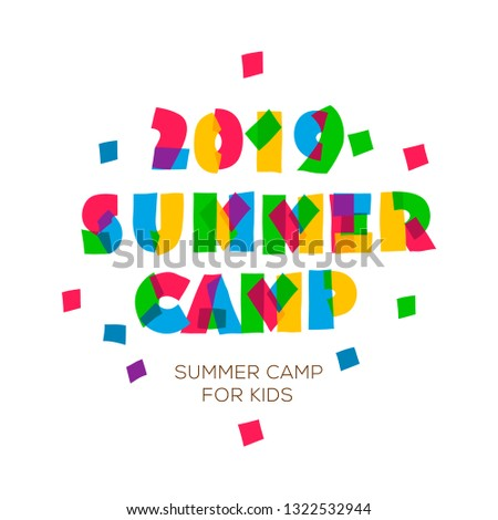 Themed Summer Camp 2019 poster in flat style, vector illustration. Stock photo © ikopylov